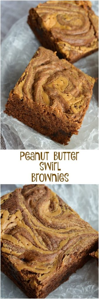 Peanut Butter Brownies with a nice cold glass of milk! This dessert recipe will cure any chocolate and peanut butter craving!
