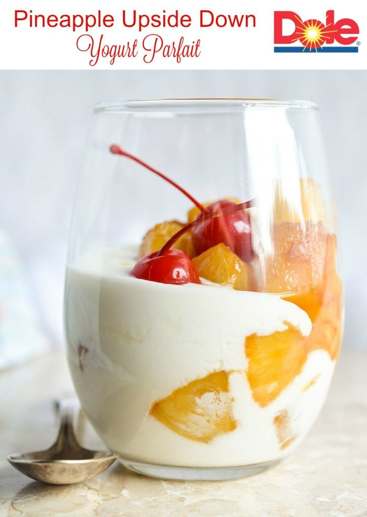 Make a Pineapple Upside Down Yogurt Parfait for a quick and flavorful 3-step snack or dessert! This sweet treat is less than 500 calories and comes together in 10 minutes or less!