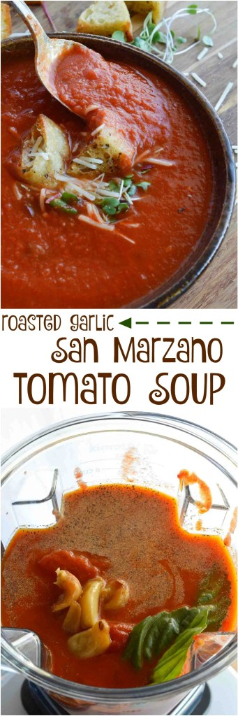 This Easy Tomato Soup Recipe is comfort food at it's best. San Marzano Tomatoes and roasted garlic take this family favorite to the next level! Enjoy a bowl of this healthy homemade soup for lunch or dinner. And instead of sugar I use a secret ingredient to add a hint of sweet . . . spoiler, it is carrot juice!