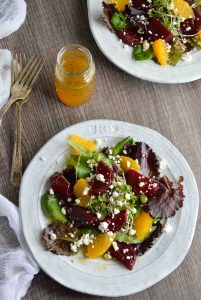 Beet Salad with Goat Cheese and Orange Vinaigrette Dressing