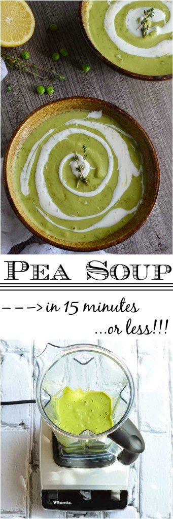 Make this Easy Pea Soup Recipe with frozen peas right in your blender! This soup is bursting with bright lemon flavor and topped with cool crème fraîche. Hot or cold, this soup makes a great vegetarian lunch or dinner in 15 minutes or less!