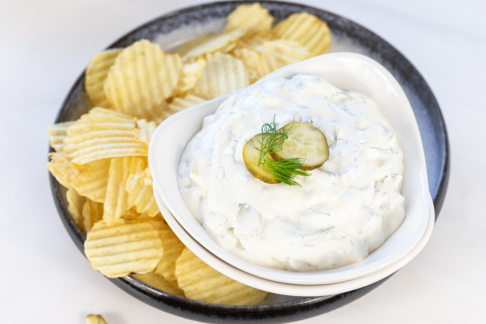 creamy dip in bowl next to chips