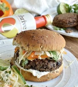 Black Bean Burger with Cilantro Lime Slaw