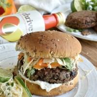 Cheese Stuffed Quinoa Black Bean Burger with Cilantro Lime Slaw
