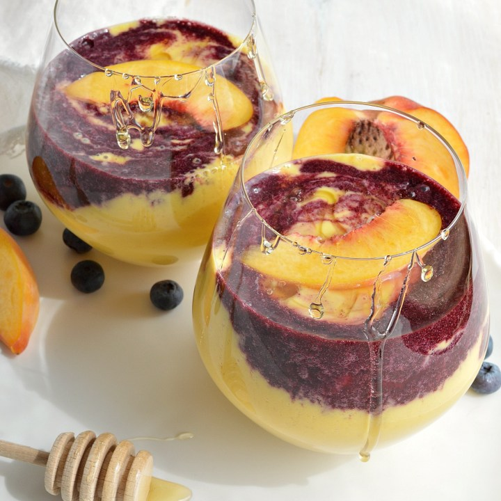 Peach Smoothies with Wild Blueberry Swirl