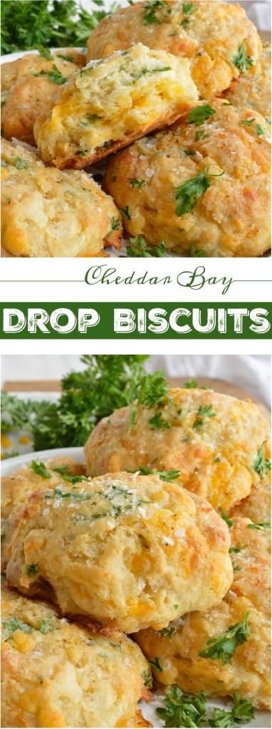 Cheddar Bay Drop Biscuits are full of flavor and light as air. These are inspired by your favorite Red Lobster Biscuits Recipe with cheddar cheese, buttermilk, fresh parsley and Old Bay Seasoning. Perfect for a quick dinner side dish or holiday feasts!