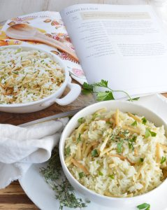This Easy Rice Pilaf Recipe from The Weeknight Dinner Cookbook is just one of many amazing dinner recipes. Rice pilaf made in about 20 minutes is perfect for weeknight cooking!