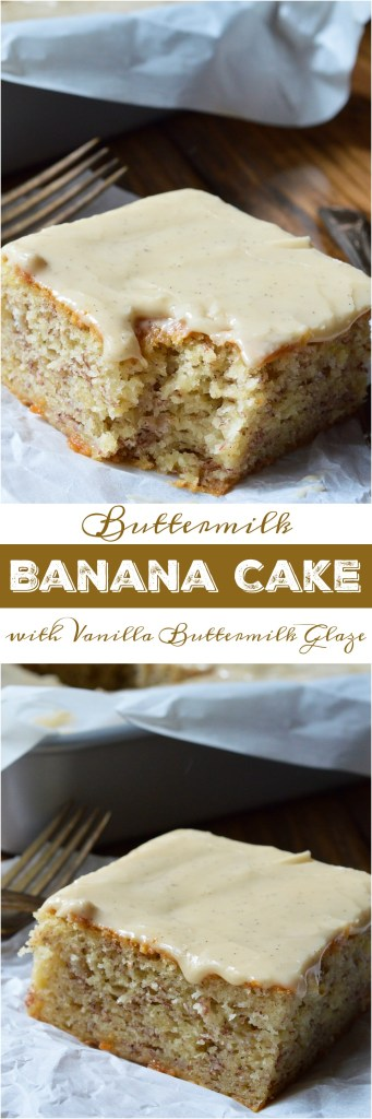 Do you have a few brown overripe bananas hanging out on your counter? If so, this Buttermilk Banana Cake Recipe with Vanilla Buttermilk Glaze must happen! This cake has the great flavor of banana bread with the perfect moist, cakey consistency. The Vanilla Buttermilk Glaze makes this cake the ultimate indulgent dessert!