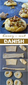 Do you want to make an amazing breakfast pastry without all the fuss? This Honey Nut Cream Cheese Danish Recipe is unbelievably simple. Use crescent rolls as a shortcut then fill with orange infused cream cheese, top with honeyed walnuts and pistachios. A cheese danish with flavors inspired by baklava!