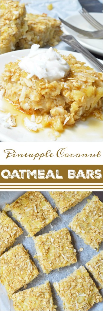 If you want a sweet and satisfying breakfast, these Pineapple Coconut Dairy Free Baked Oatmeal Bars are perfect! This super simple recipe is a great way to liven up your morning oatmeal. Oatmeal, pineapple and coconut are baked and served like cake with a dollop of vanilla yogurt and a generous drizzle of maple syrup. This gluten free, vegetarian, dairy free breakfast will be a hit!