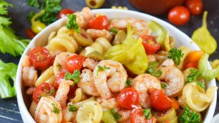 Bloody Mary Shrimp Pasta Salad