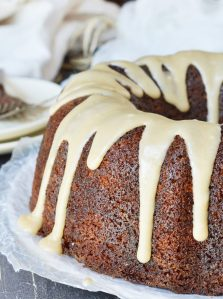 Need a dessert recipe that is easy, delicious and impressive? This Brown Butter Glazed Bundt Cake Recipe is all of those! This moist cake is flavored with apple butter then topped with brown butter glaze. A guaranteed crowd pleaser!