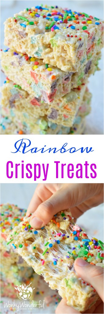 These Magical Rainbow Rice Crispy Treats are perfect for a surprise treat or a colorful unicorn party! This easy dessert recipe makes super chewy krispy treats full of magical charm marshmallows. Top them with rainbow sprinkles for the ultimate kid approved treat!