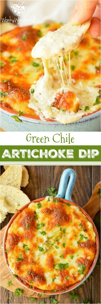 Looking for a cheesy appetizer to feed your hungry crowd? ThisHot Green Chile Artichoke Dip Recipe takes a family favorite to the next level with a punch of green chile flavor! This recipe is quick, easy and perfect for game day or holiday feasts. #appetizer #wonkywonderful