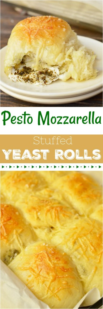 These Pesto Mozzarella Stuffed Dinner Rolls are not only great for a holiday recipe, they are fantastic year round! You can't go wrong with fresh mozzarella and flavorful basil pesto tucked inside these super soft yeast rolls!