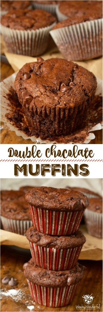 Inspired by Costco Jumbo Chocolate Muffins, these Double Chocolate Chip Muffins are even better! Quality Dutch-processed cocoa and a generous amount of chocolate chips make this the ultimate chocolate lover's recipe. What's better than eating chocolate cake for breakfast!?!? #chocolatemuffins #muffinrecipe #muffins