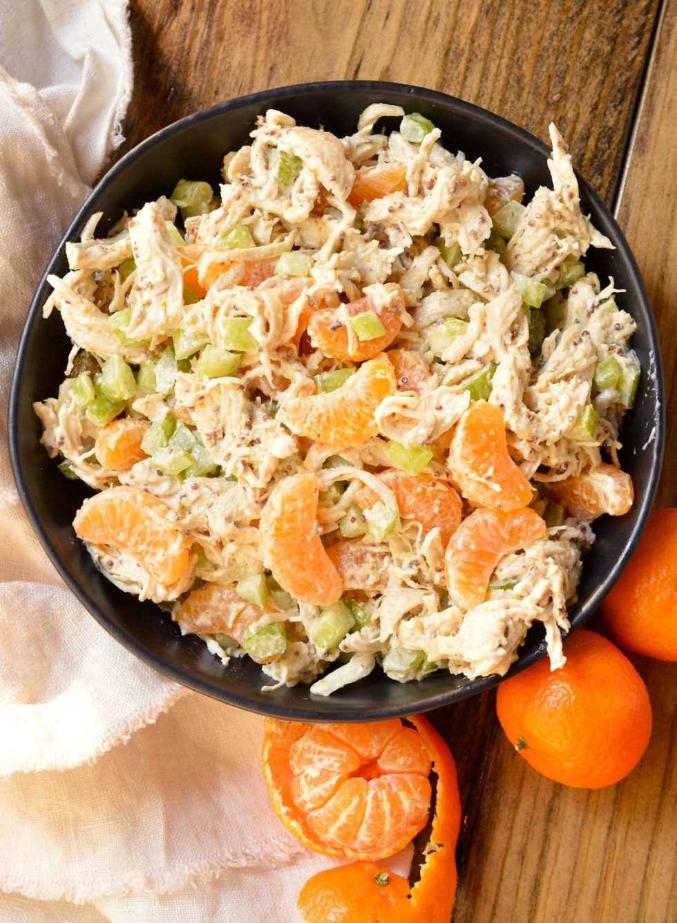 Take a break from boring old chicken salad and make this Mandarin Orange Chicken Salad Recipe. The tangy dijon mustard and sweet mandarin oranges take this chicken salad to the next level! With just 5 ingredients this makes a great nutritious lunch or dinner and can be made into a Whole30 compliant recipe. #whole30recipes #paleorecipes #chickensaladrecipe #mandarinchicken