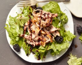 shredded pork, lettuce and blackberries on white plate with fork