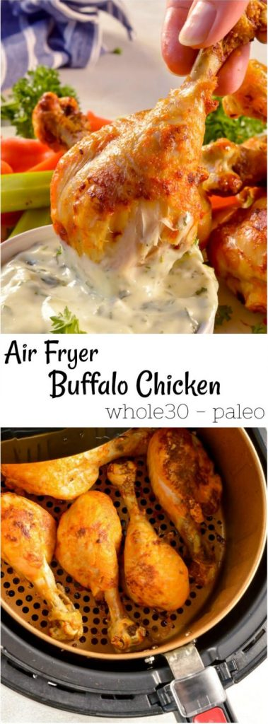air fryer buffalo chicken photo collage for pinterest