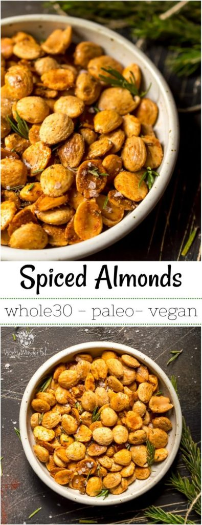 long photo collage of spiced roasted almonds for pinterest