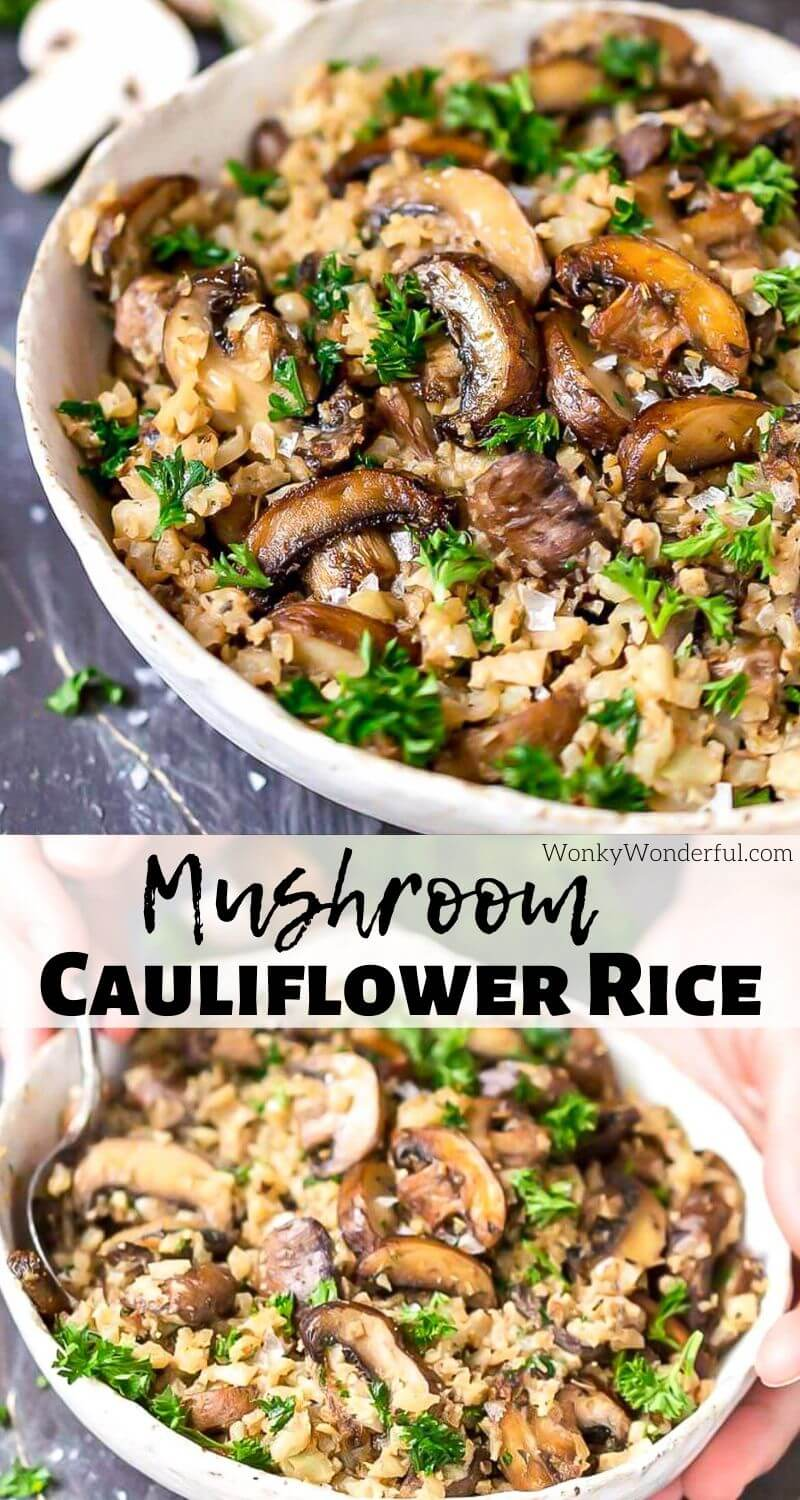 If you need a filling side dish or dinner, this Cauliflower Mushroom Rice is it! Cauli rice packed with golden brown roasted cremini mushrooms and fresh parsley. This recipe is Paleo compliant, Whole 30, Gluten Free, Low Carb, Keto, Grain Free, Dairy Free, Vegetarian and has Vegan options. #lowcarbrecipes #ketorecipes #paleorecipe #cauliflowerrice #dairyfreerecipes #glutenfreerecipes #veganrecipes