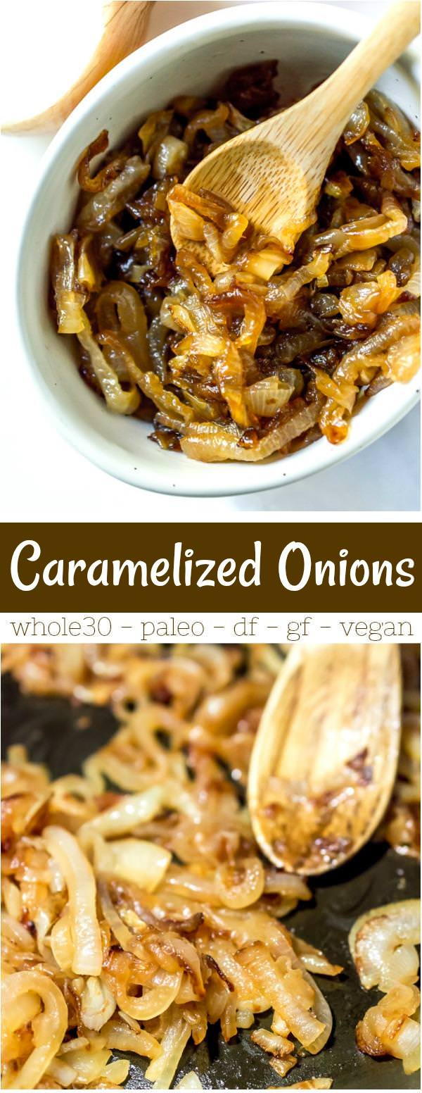collage photo of caramelized onions recipe