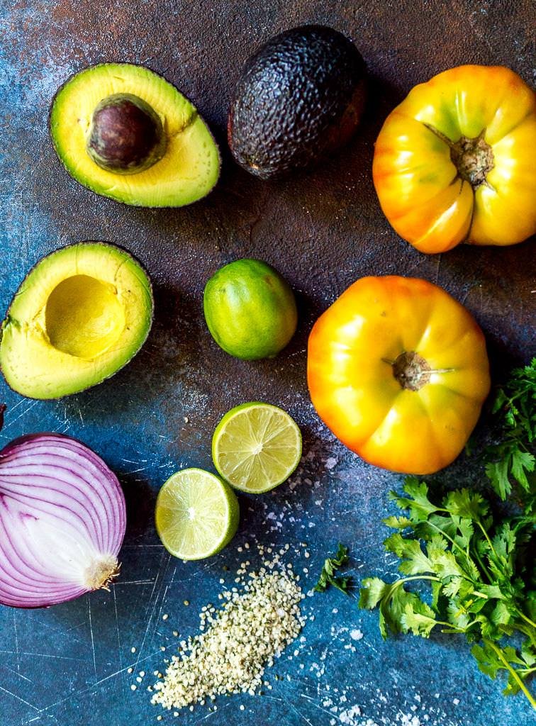 ingredients for avocado and tomato salad