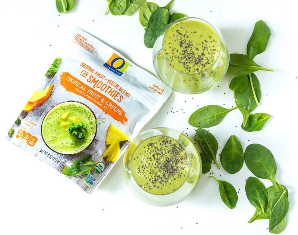 prepackaged green smoothie and green smoothies topped with chia seeds