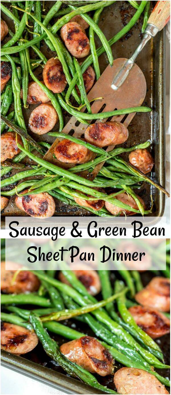 sheet pan green beans and sausage dinner collage
