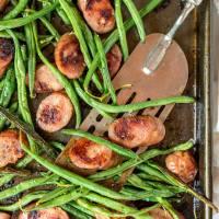 Sheet Pan Green Beans Sausage Dinner