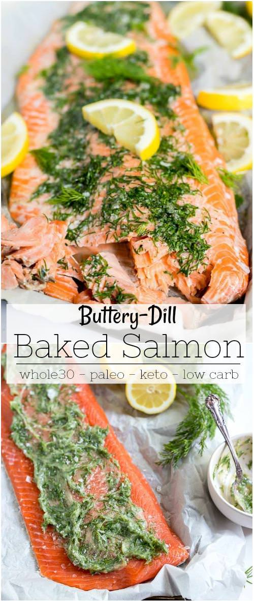 photo collage for oven baked salmon recipe