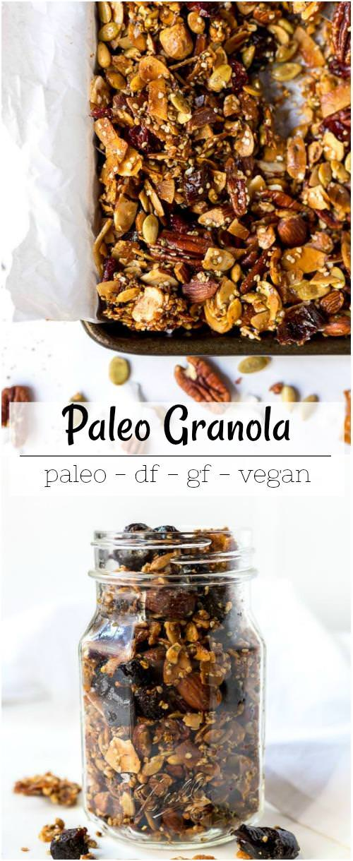 vegan paleo granola recipe photo collage