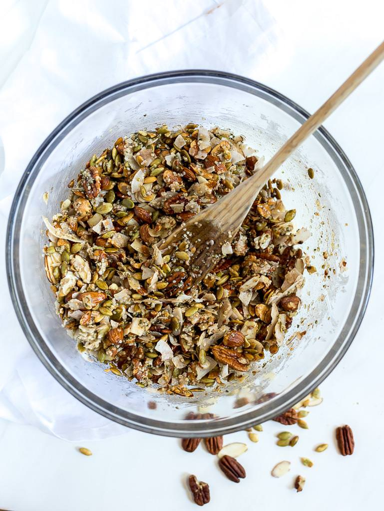 paleo granola ingredients in glass bowl
