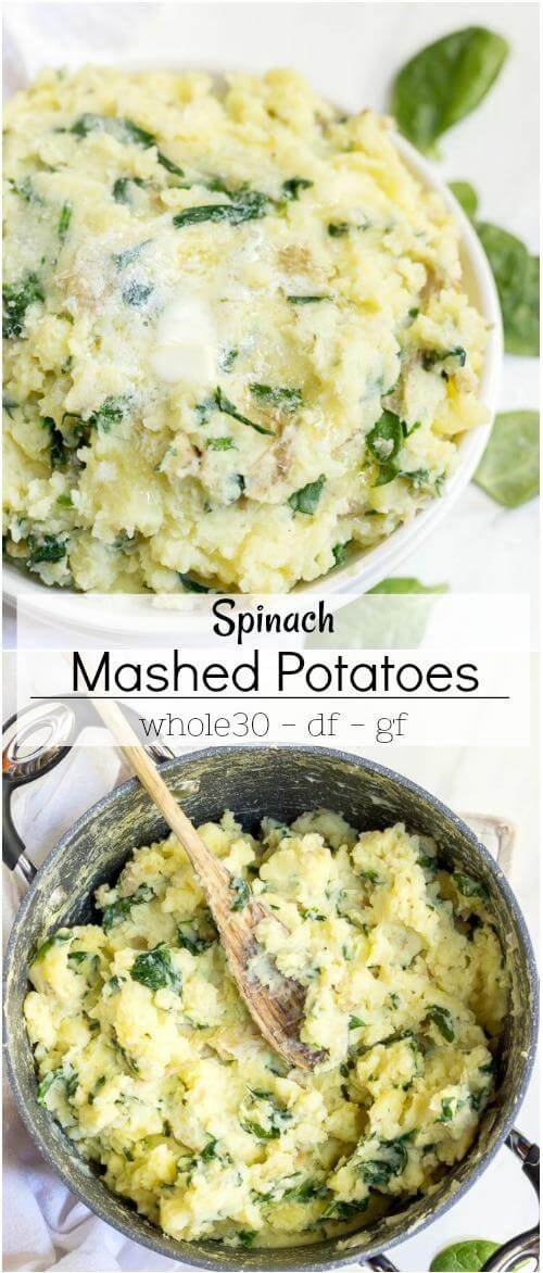 whole 30 mashed potatoes with spinach photo collage