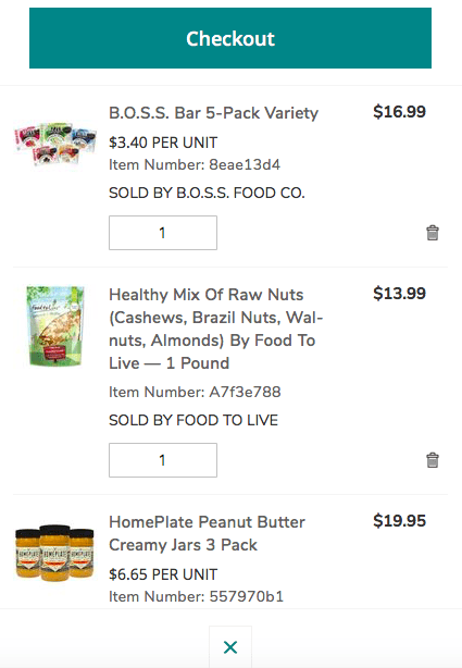 screenshot of cart on The Marketplace website