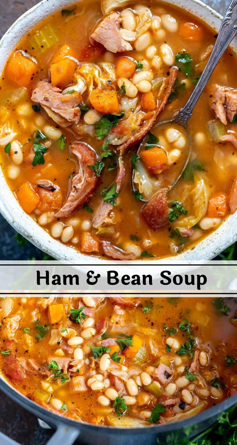 ham and bean soup recipe photo collage