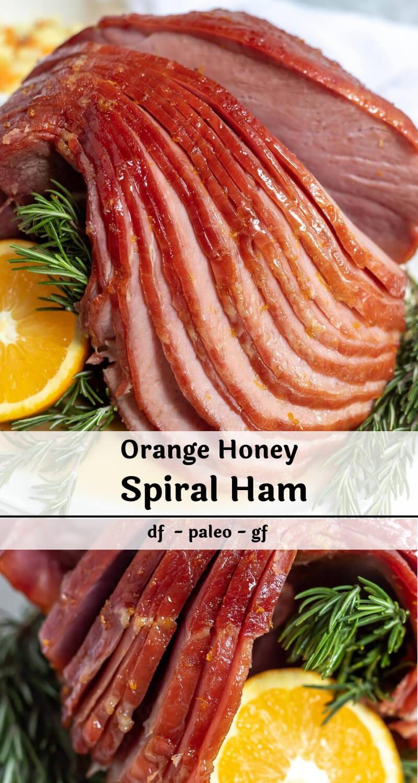 orange honey baked ham recipe photo collage