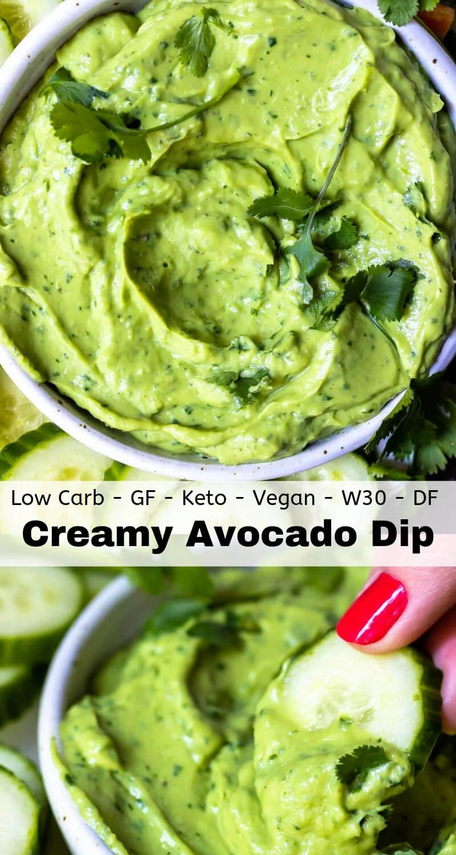 creamy avocado dip recipe photo collage