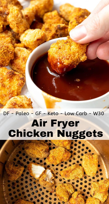 air fryer chicken nuggets recipe photo collage