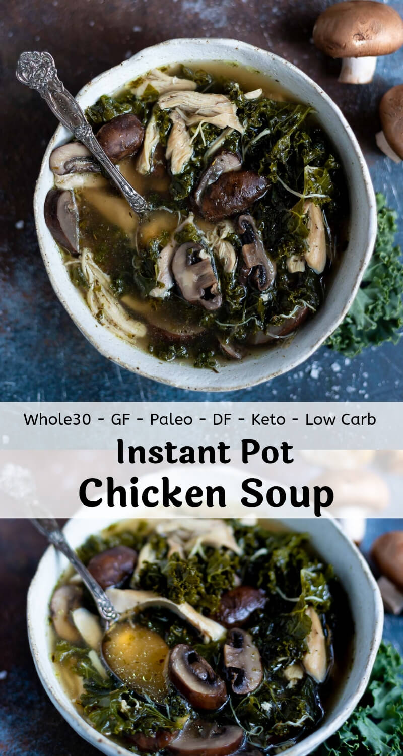 mushroom kale instant pot chicken soup recipe photo collage