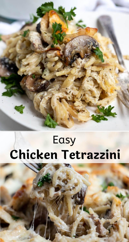 easy chicken tetrazzini recipe photo collage
