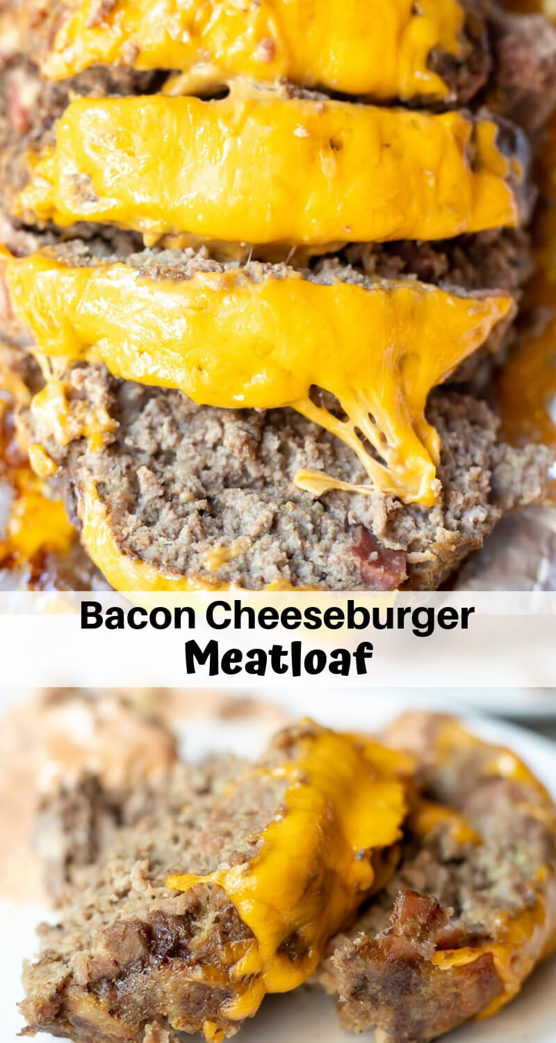 bacon cheeseburger meatloaf recipe photo collage