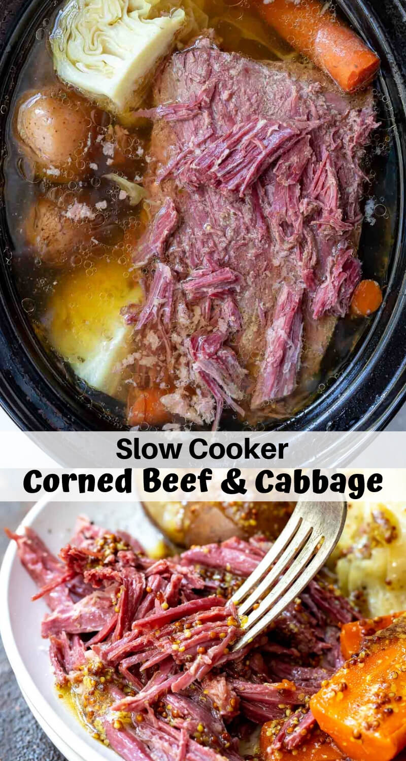 slow cooker crockpot corned beef and cabbage recipe photo collage
