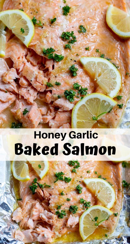 butter honey garlic salmon recipe photo collage