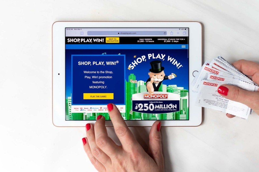 shop play win website on tablet screen