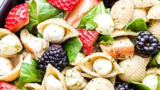 Chicken and Berry Pesto Pasta Salad
