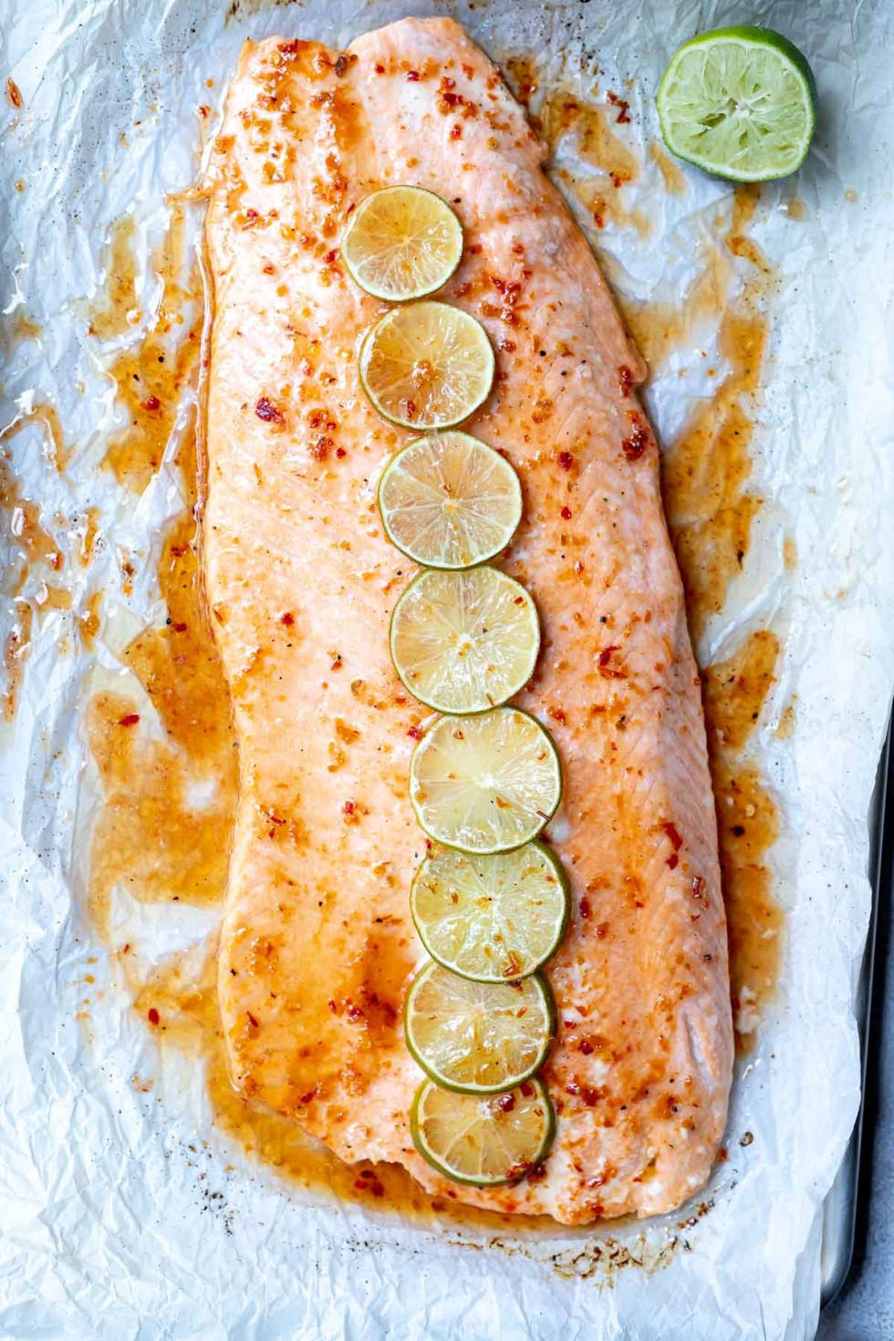 chili lime salmon on parchment paper