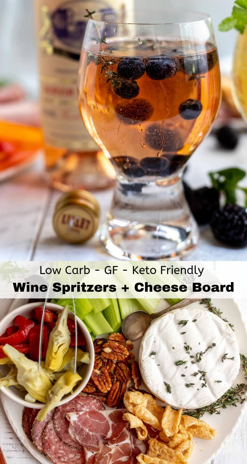 low carb cheese board and white wine spritzer recipe photo collage