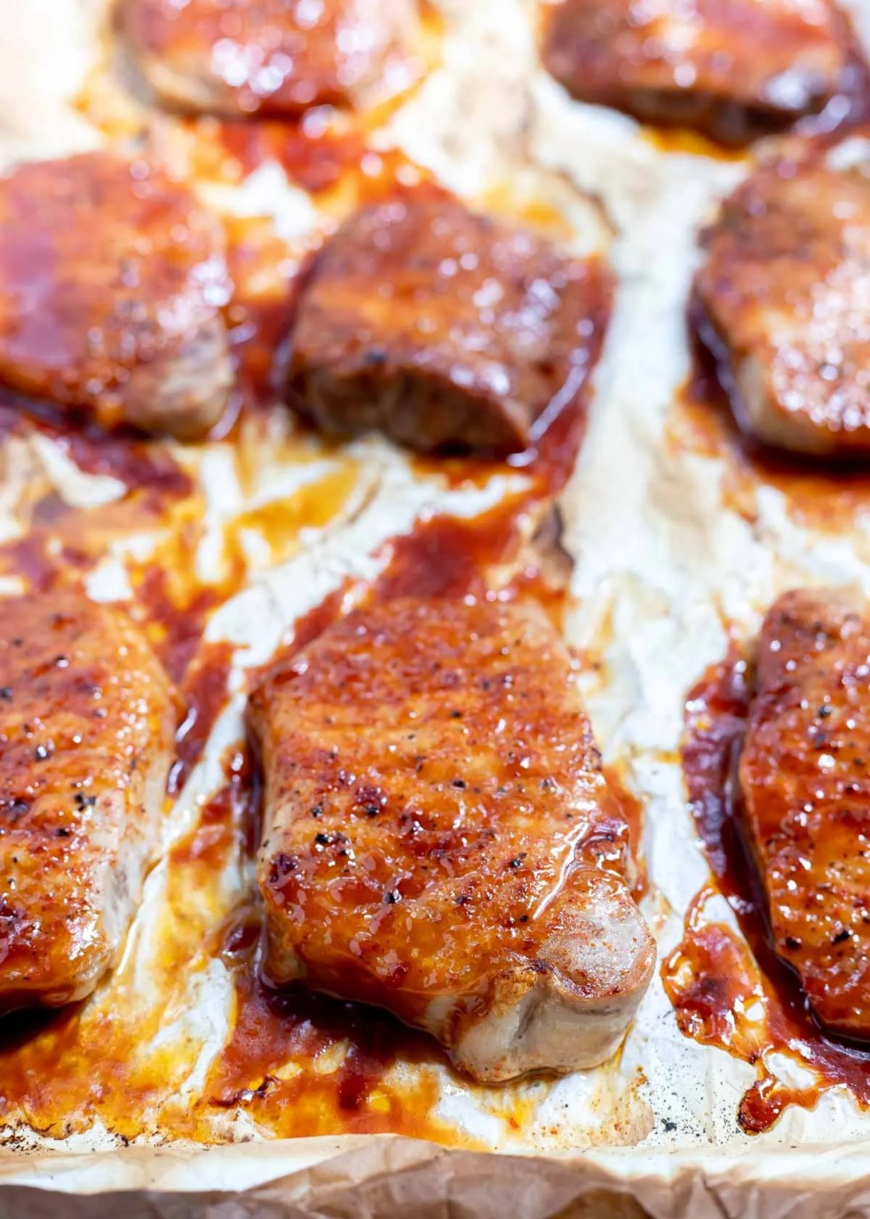 bbq pork chops fresh out of the oven