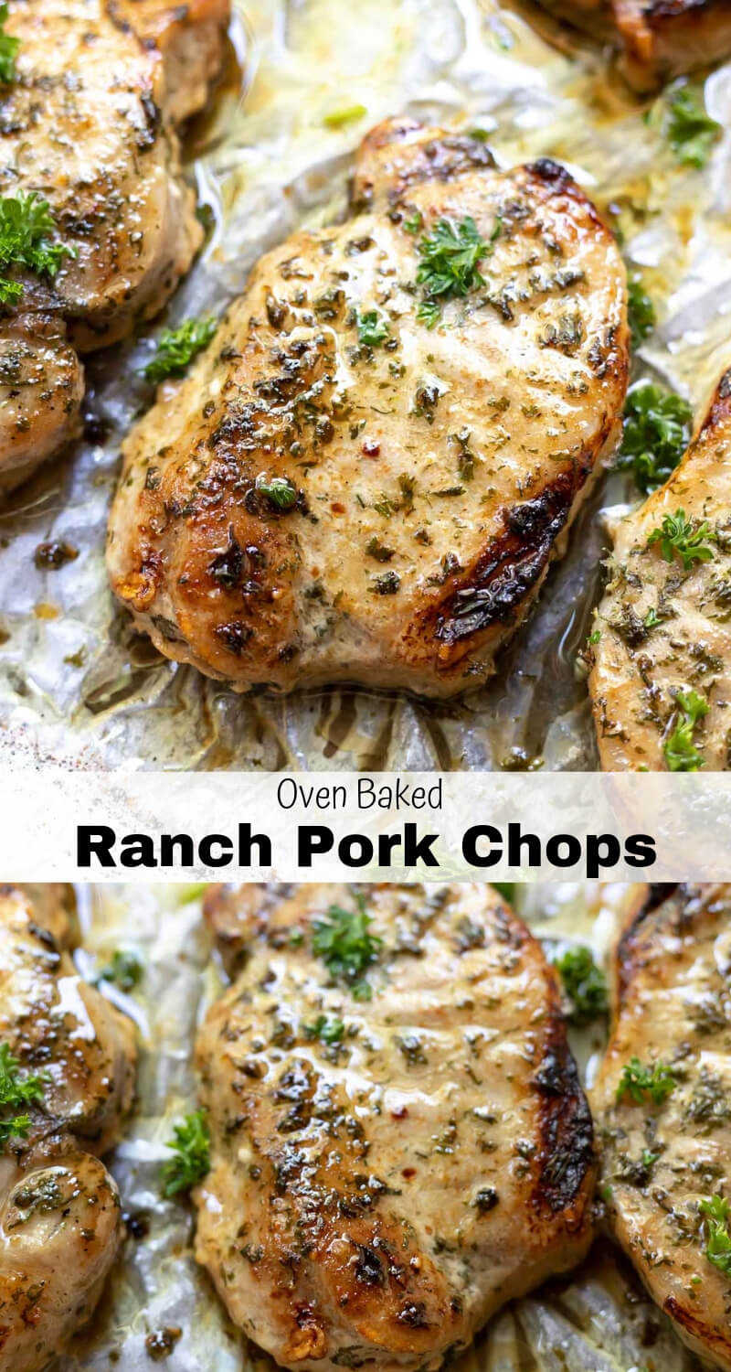 baked ranch pork chops recipe photo collage